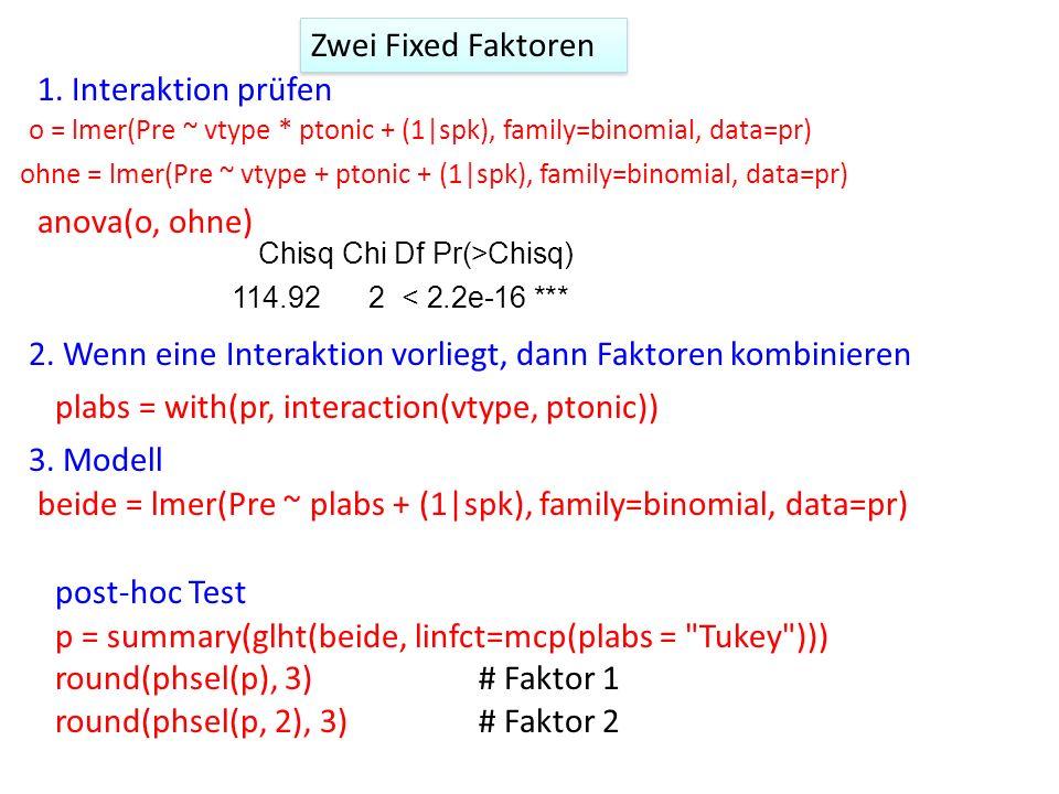 1. Interaktion prüfen 2. Wenn eine Interaktion vorliegt, dann Faktoren kombinieren plabs = with(pr, interaction(vtype, ptonic)) 3. Modell beide = lmer