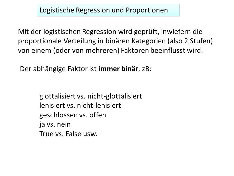 Mit der logistischen Regression wird geprüft, inwiefern die proportionale Verteilung in binären Kategorien (also 2 Stufen) von einem (oder von mehreren) Faktoren beeinflusst wird.