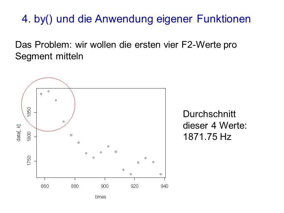 Das Problem: wir wollen die ersten vier F2-Werte pro Segment mitteln Durchschnitt dieser 4 Werte: 1871.75 Hz 4. by() und die Anwendung eigener Funktio