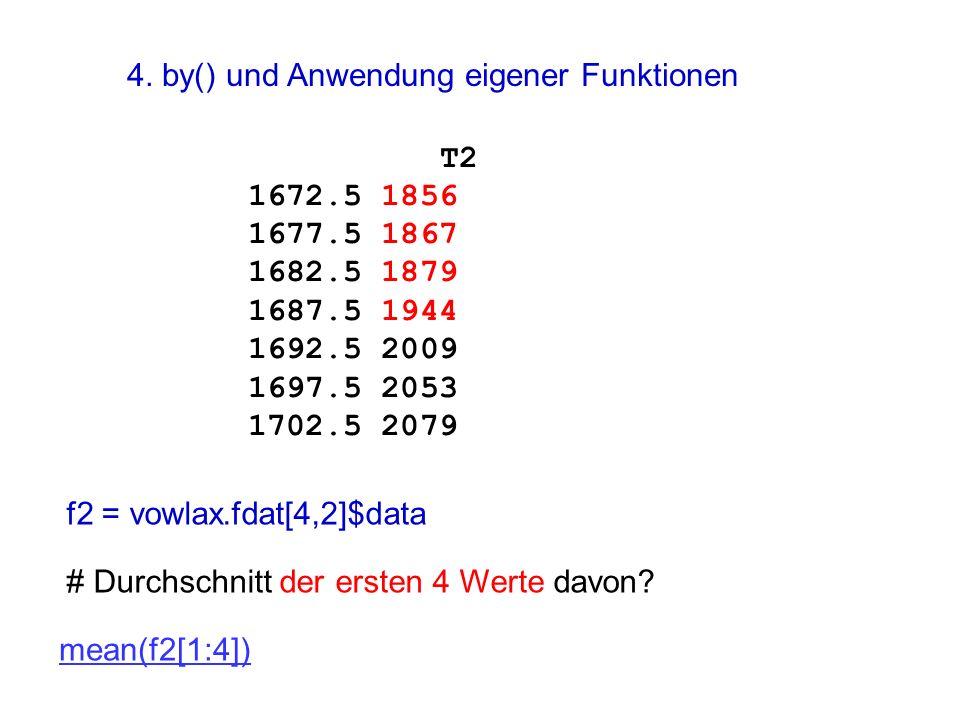 f2 = vowlax.fdat[4,2]$data # Durchschnitt der ersten 4 Werte davon? mean(f2[1:4]) T2 1672.5 1856 1677.5 1867 1682.5 1879 1687.5 1944 1692.5 2009 1697.