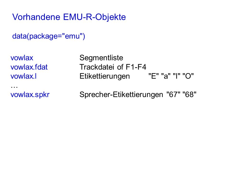 Vorhandene EMU-R-Objekte data(package=