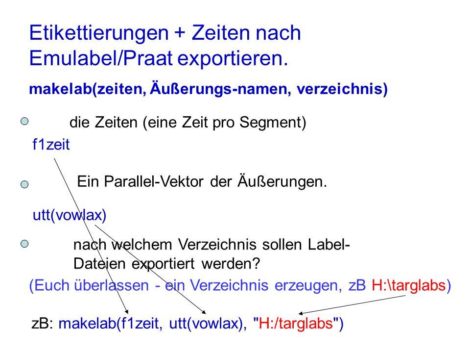 Etikettierungen + Zeiten nach Emulabel/Praat exportieren. makelab(zeiten, Äußerungs-namen, verzeichnis) die Zeiten (eine Zeit pro Segment) nach welche