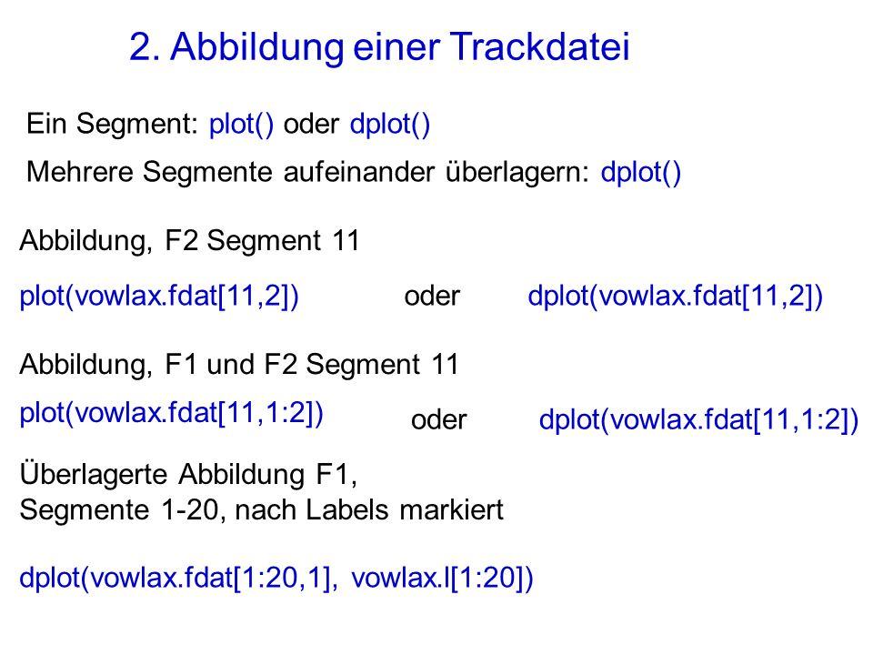 2. Abbildung einer Trackdatei Ein Segment: plot() oder dplot() Mehrere Segmente aufeinander überlagern: dplot() Abbildung, F2 Segment 11 oderplot(vowl
