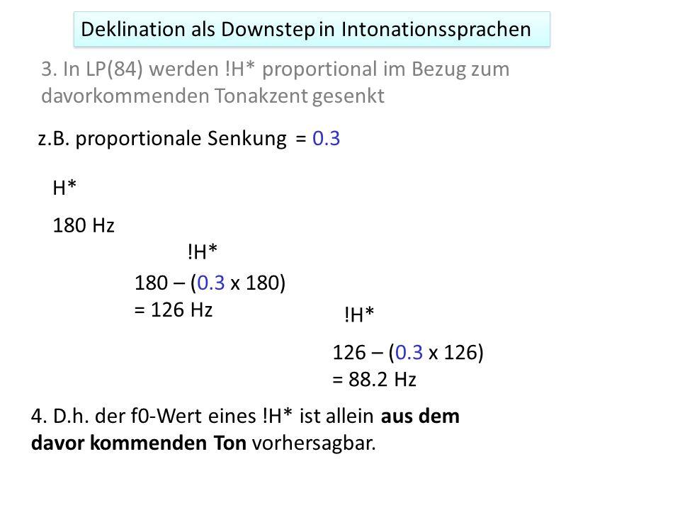 Deklination als Downstep in Intonationssprachen 1. Deklination ist dasselbe wie Downstep. 2. Downstep/Deklination ist vorhersagbar und daher rein phon