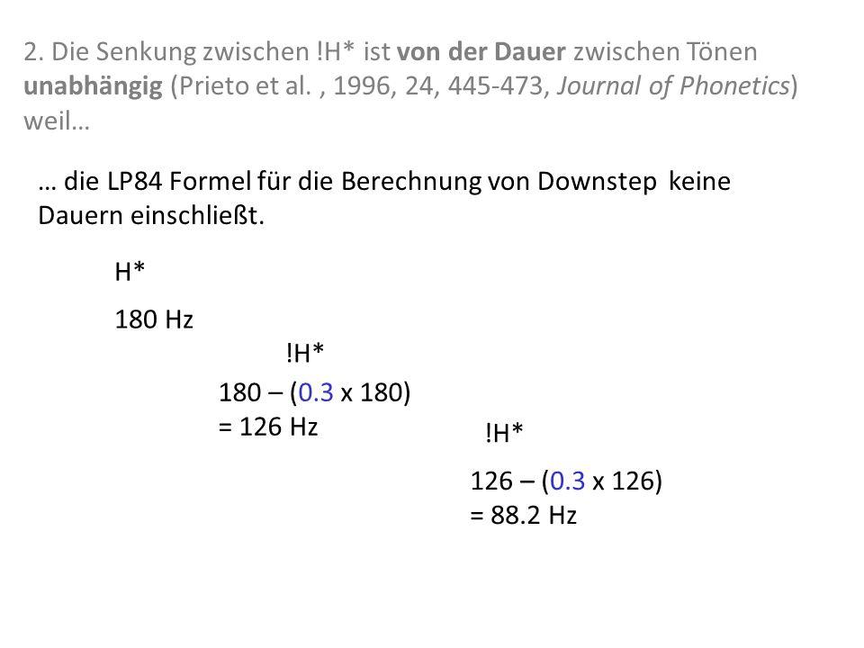 Experimentelle Beweise für das L&P Downstep Modell 1. Die f0-Höhe des ersten Tonakzents müsste unabhängig von der Anzahl der !H* Töne sein (wenn ein D