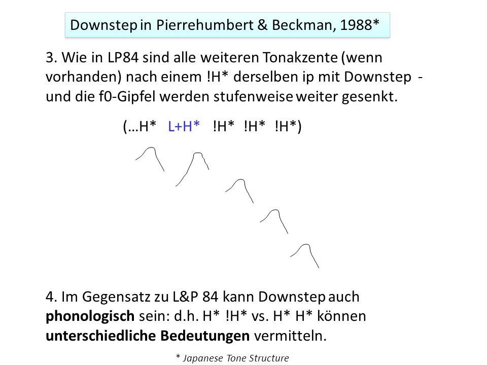 1. Contra L&P, 1984: Downstep ist unabhängig von der Deklination 2. Wie in LP84 ist Downstep kontext-bedingt (= phonetisch): Downstep wird automatisch