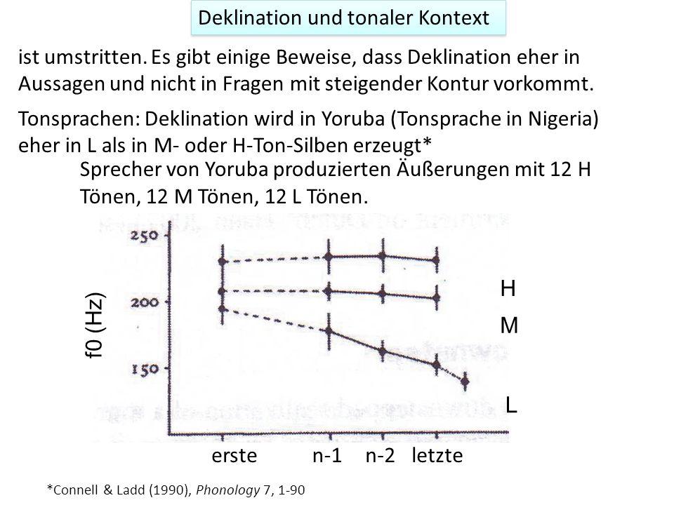 Deklination und f0-reset f0-reset: Zurücksetzen von f0 nach einer Intonations- oder Intermediärphrase. Es gibt einige Beweise dafür (siehe Ladd, 1996)