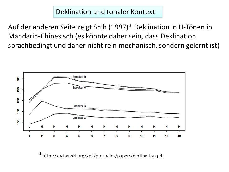 Auf der anderen Seite zeigt Shih (1997)* Deklination in H-Tönen in Mandarin-Chinesisch (es könnte daher sein, dass Deklination sprachbedingt und daher nicht rein mechanisch, sondern gelernt ist) * http://kochanski.org/gpk/prosodies/papers/declination.pdf Deklination und tonaler Kontext