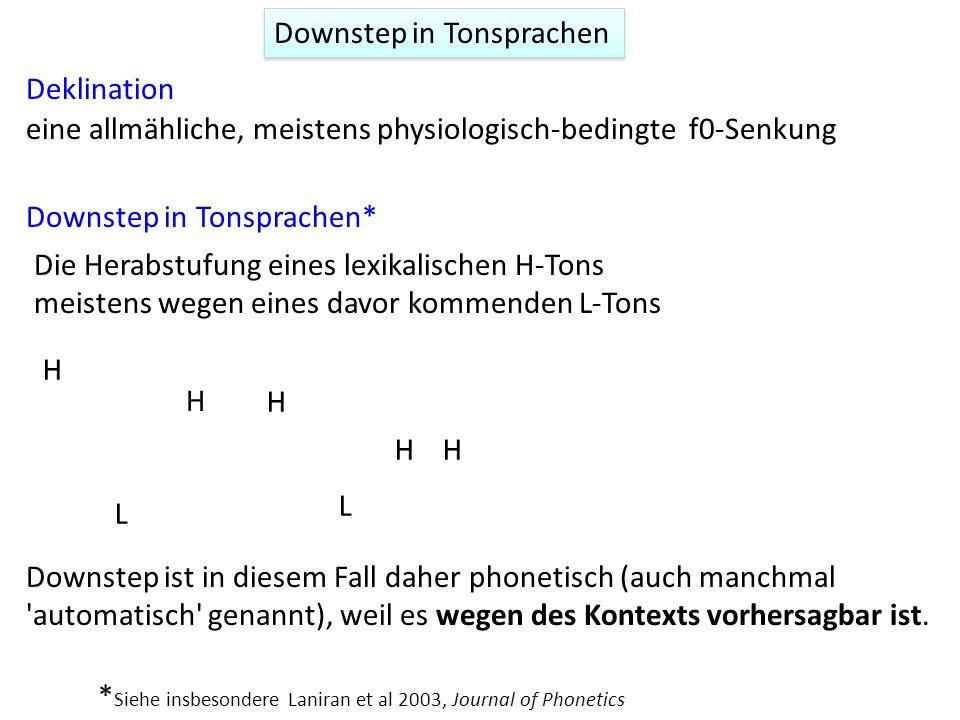 Deklination und Prominenz Pierrehumbert, J (1979)the perception of fundamental frequency declination. J. Acoust. Soc. America, 66, 363-369. Ein H* spä