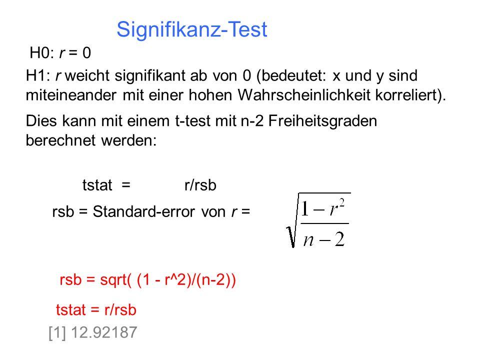 Signifikanz-Test H0: r = 0 H1: r weicht signifikant ab von 0 (bedeutet: x und y sind miteineander mit einer hohen Wahrscheinlichkeit korreliert). rsb