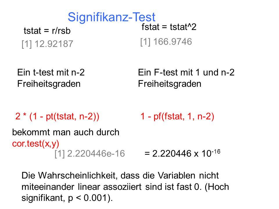 Signifikanz-Test tstat = r/rsb [1] 12.92187 Ein t-test mit n-2 Freiheitsgraden 2 * (1 - pt(tstat, n-2)) fstat = tstat^2 [1] 166.9746 Ein F-test mit 1