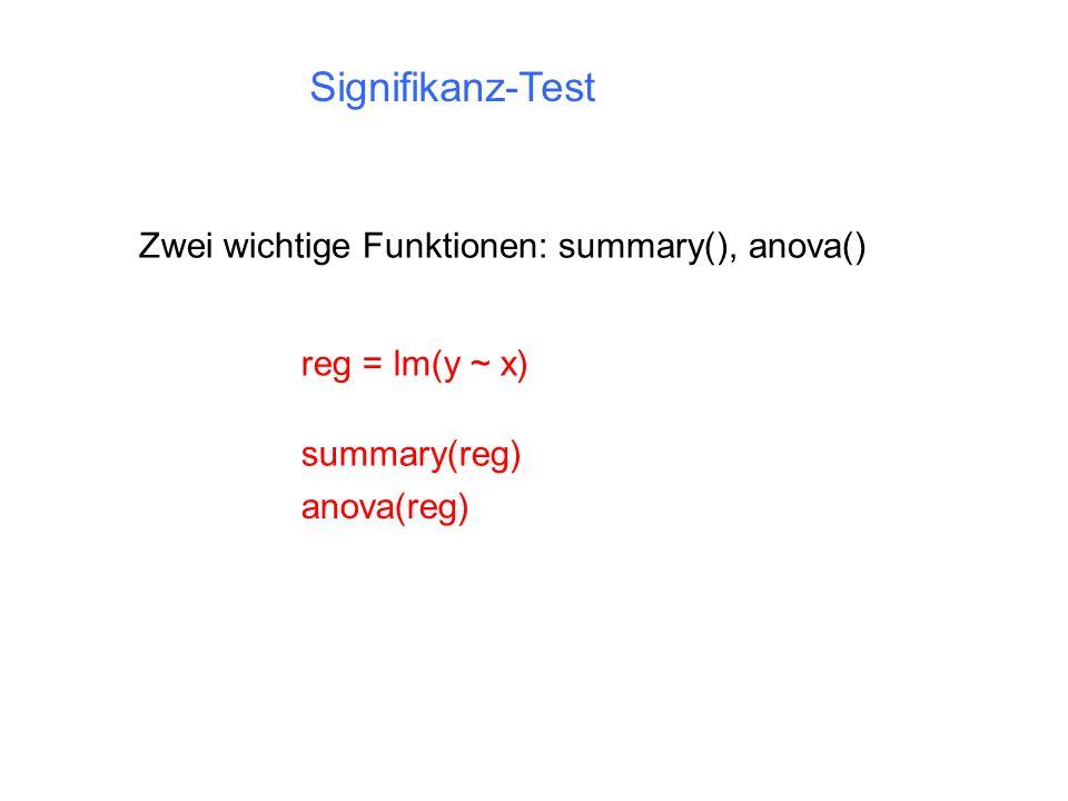 Signifikanz-Test Zwei wichtige Funktionen: summary(), anova() summary(reg) reg = lm(y ~ x) anova(reg)