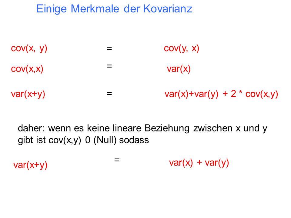 Einige Merkmale der Kovarianz cov(x, y) var(x+y)var(x)+var(y) + 2 * cov(x,y) cov(x,x) cov(y, x) var(x) = = = daher: wenn es keine lineare Beziehung zw