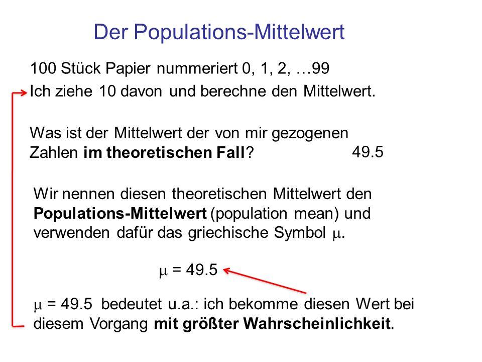 Der Populations-Mittelwert 100 Stück Papier nummeriert 0, 1, 2, …99 Ich ziehe 10 davon und berechne den Mittelwert. Was ist der Mittelwert der von mir