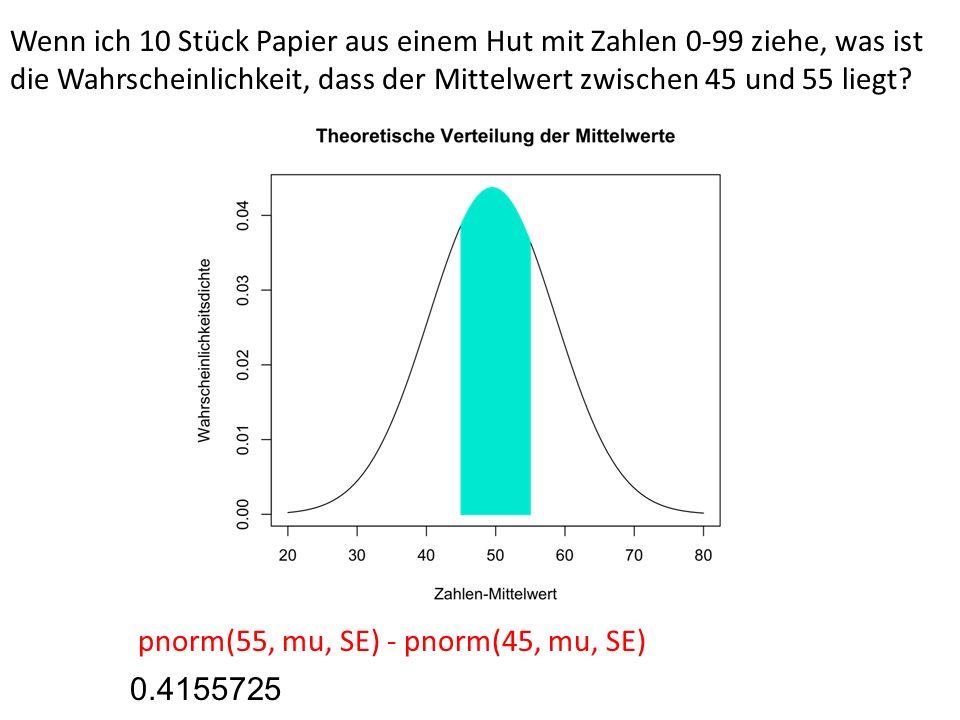 Wenn ich 10 Stück Papier aus einem Hut mit Zahlen 0-99 ziehe, was ist die Wahrscheinlichkeit, dass der Mittelwert zwischen 45 und 55 liegt? pnorm(55,