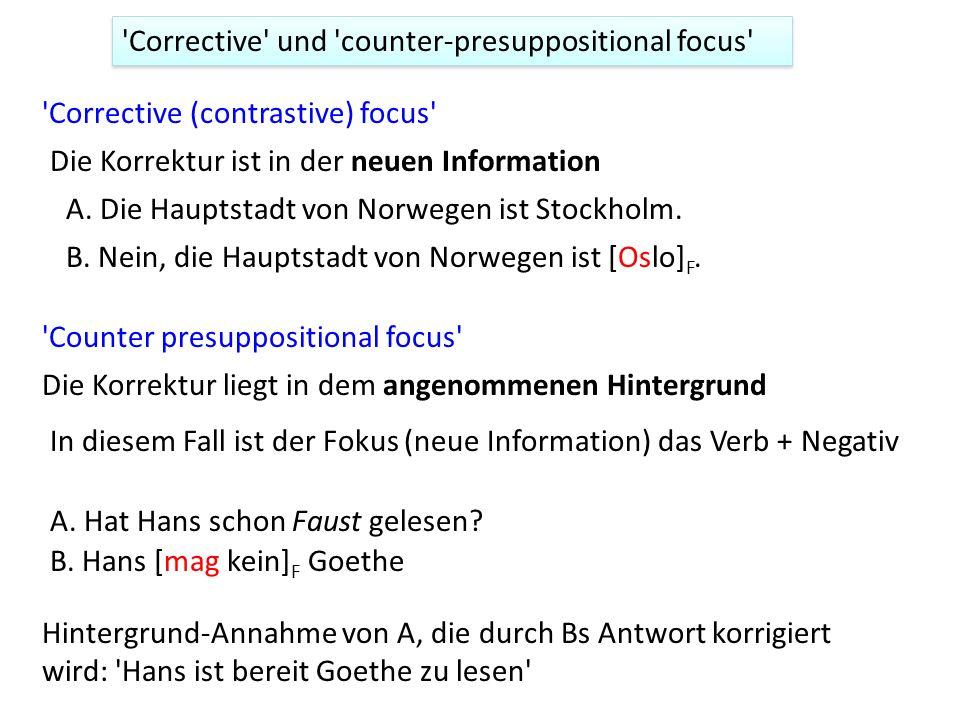 Corrective und counter-presuppositional focus Corrective (contrastive) focus Die Korrektur ist in der neuen Information Counter presuppositional focus Die Korrektur liegt in dem angenommenen Hintergrund A.