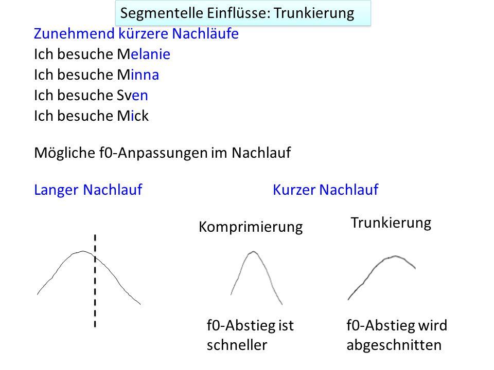 Segmentelle Einflüsse: Trunkierung Trunkierung: Das frühe 'Abschneiden' einer f0-Kontur wenn ungenügendes stimmhaftes Material vorhanden ist. Betrifft