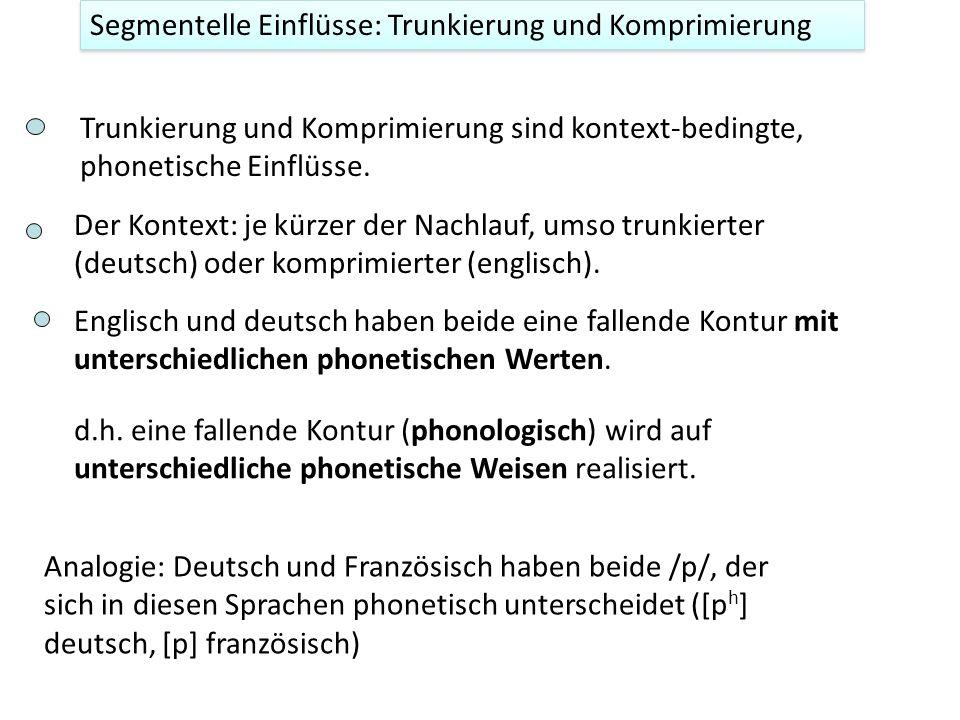 Segmentelle Einflüsse: Trunkierung Deutsch scheint zu trunkieren, englisch eher zu komprimieren (in allen Wörtern wird eine fallende Kontur wahrgenomm