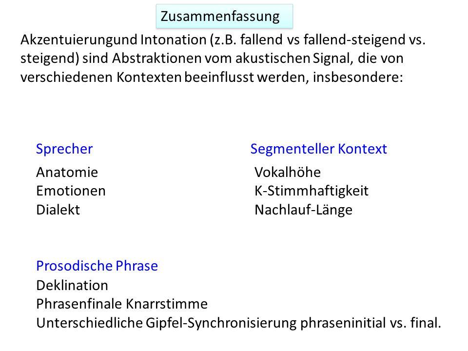 (Nuklear-Akzent = das letzte akzentuierte Wort einer prosodischen Phrase) Einfluss der prosodischen Phrase: Gipfelverschiebung Silverman, K. & Pierreh