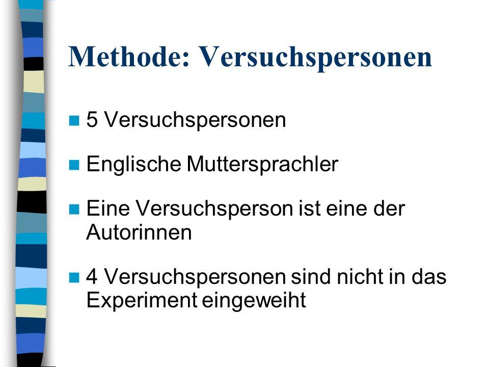 Methode: Versuchspersonen 5 Versuchspersonen Englische Muttersprachler Eine Versuchsperson ist eine der Autorinnen 4 Versuchspersonen sind nicht in das Experiment eingeweiht