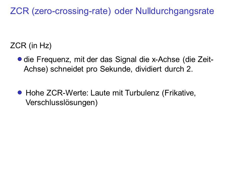ZCR (zero-crossing-rate) oder Nulldurchgangsrate ZCR (in Hz) die Frequenz, mit der das Signal die x-Achse (die Zeit- Achse) schneidet pro Sekunde, dividiert durch 2.