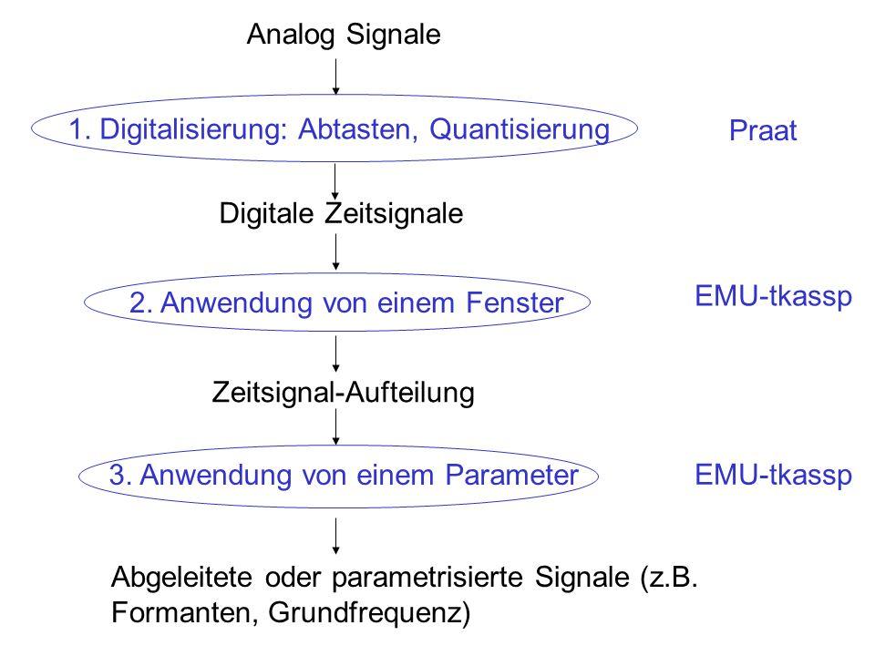 Die Abtastfrequenz (fs, Hz) = 1/T (T in Sekunden) = 1/0.001 = 1000 Hz Die Abtastperiode (T, in Sekunden): die (konstante) Dauer zwischen den digitalen Werten.