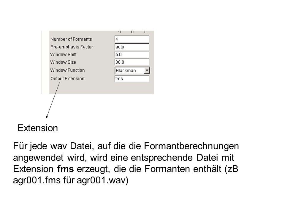 Extension Für jede wav Datei, auf die die Formantberechnungen angewendet wird, wird eine entsprechende Datei mit Extension fms erzeugt, die die Formanten enthält (zB agr001.fms für agr001.wav)
