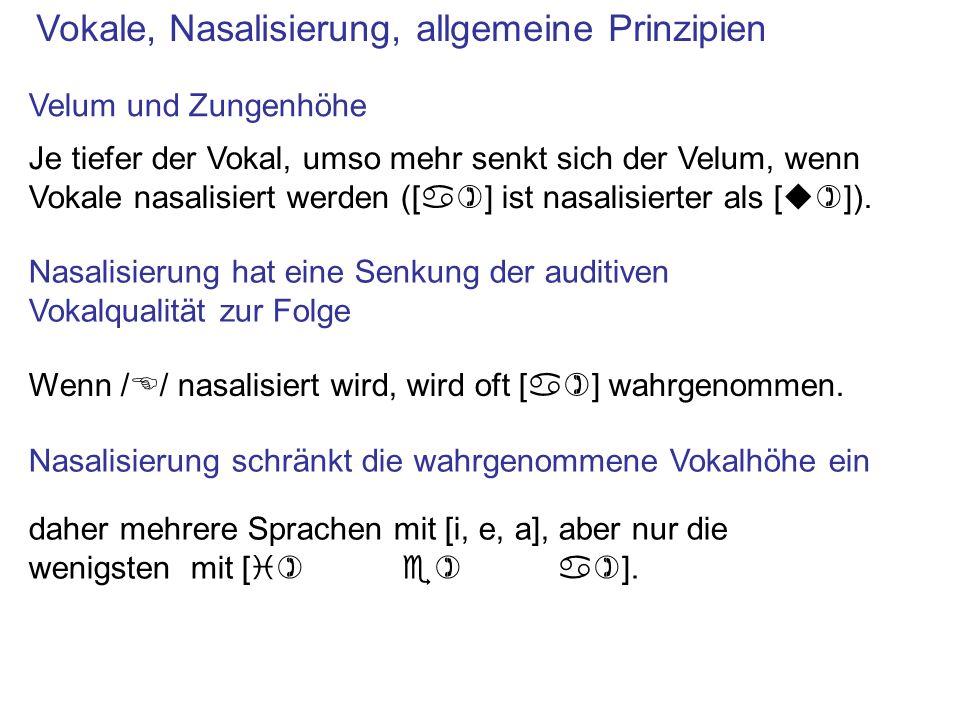 Vokale, Nasalisierung, allgemeine Prinzipien Nasalisierung hat eine Senkung der auditiven Vokalqualität zur Folge daher mehrere Sprachen mit [i, e, a]