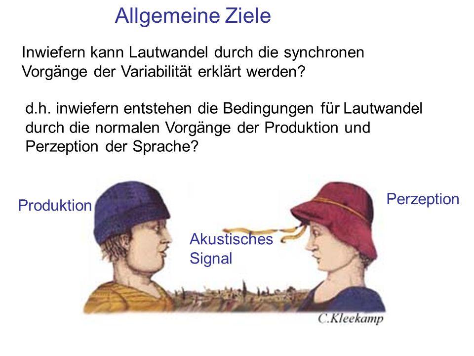 Allgemeine Ziele Inwiefern kann Lautwandel durch die synchronen Vorgänge der Variabilität erklärt werden? d.h. inwiefern entstehen die Bedingungen für