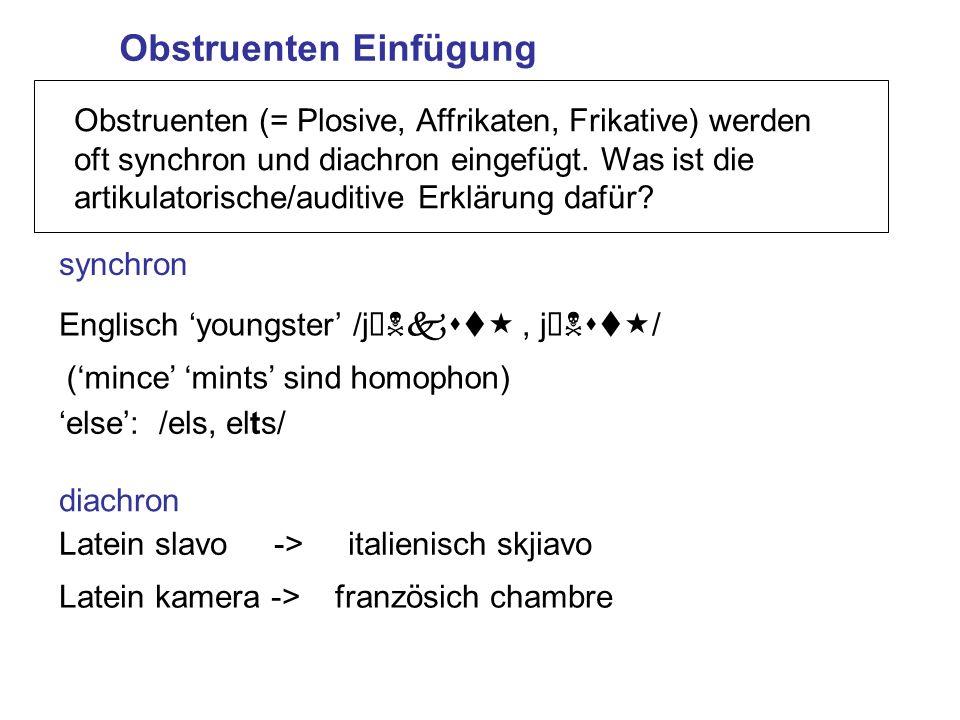 Obstruenten Einfügung synchron Obstruenten (= Plosive, Affrikaten, Frikative) werden oft synchron und diachron eingefügt. Was ist die artikulatorische