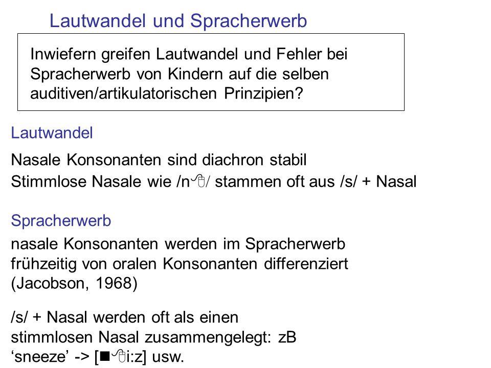 Lautwandel und Spracherwerb Spracherwerb Lautwandel Stimmlose Nasale wie /n8 / stammen oft aus /s/ + Nasal /s/ + Nasal werden oft als einen stimmlosen