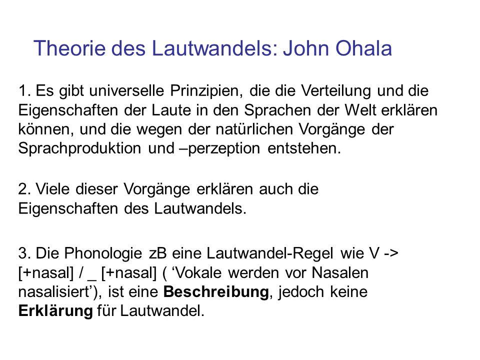 Theorie des Lautwandels: John Ohala 1. Es gibt universelle Prinzipien, die die Verteilung und die Eigenschaften der Laute in den Sprachen der Welt erk