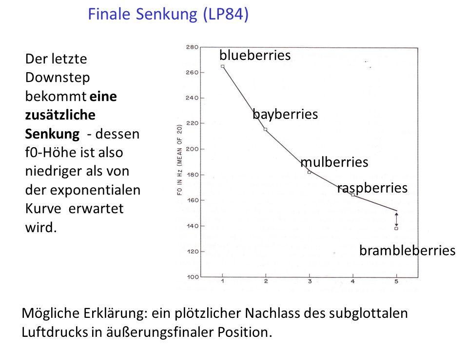 Wegen dieser proportionalen Senkung wird der f0-Abstand zwischen aufeinanderfolgenden !H* Tönen immer kleiner (also ist die Senkung exponential).