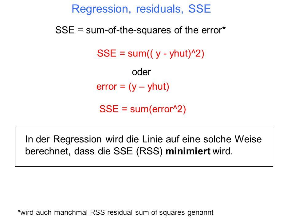 Regression, residuals, SSE In der Regression wird die Linie auf eine solche Weise berechnet, dass die SSE (RSS) minimiert wird. SSE = sum(( y - yhut)^