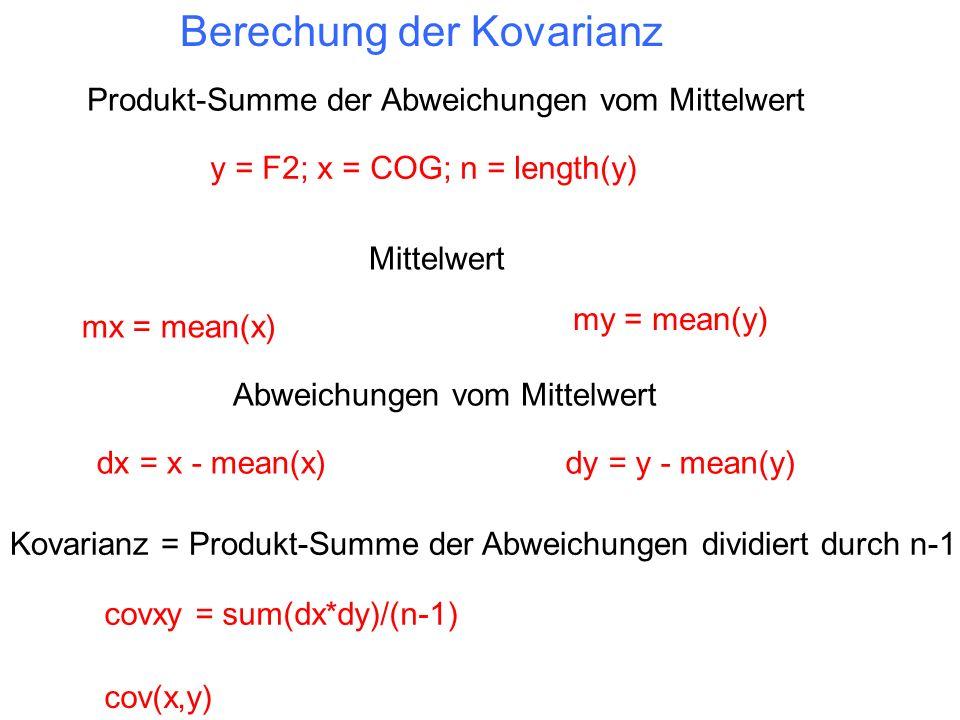 Berechung der Kovarianz Mittelwert y = F2; x = COG; n = length(y) Abweichungen vom Mittelwert mx = mean(x) my = mean(y) dx = x - mean(x)dy = y - mean(