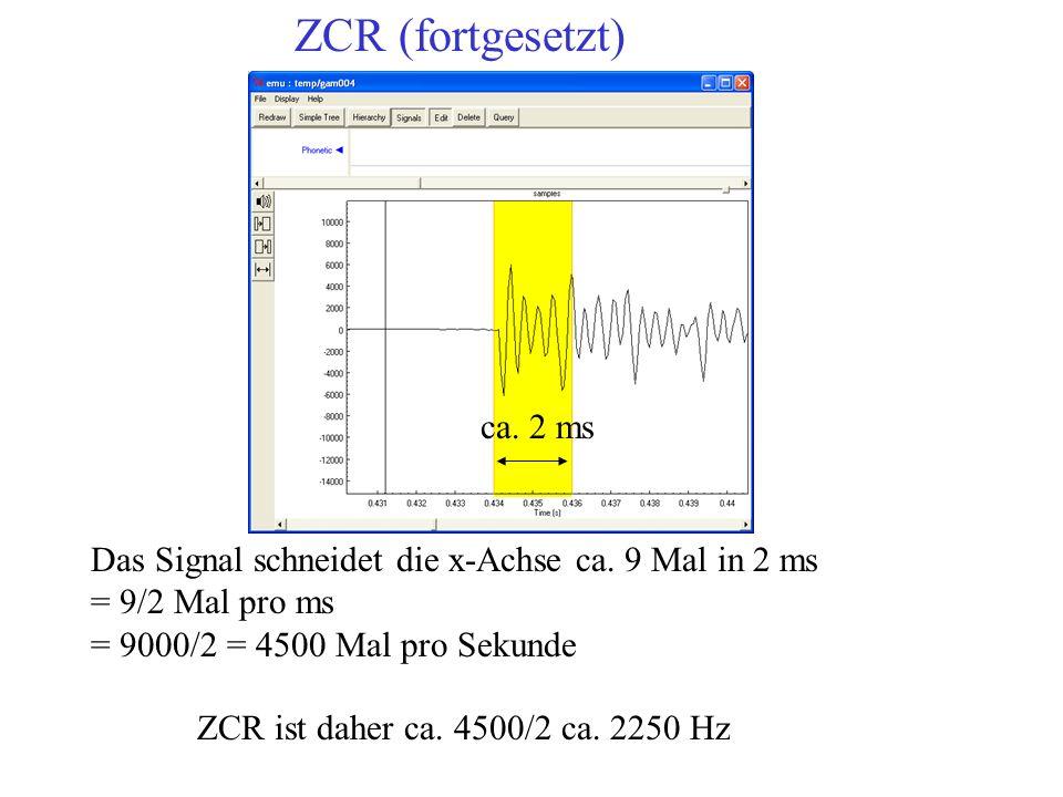 Das Signal schneidet die x-Achse ca. 9 Mal in 2 ms = 9/2 Mal pro ms = 9000/2 = 4500 Mal pro Sekunde ZCR = Z / (2t) Hz ca. 2 ms ZCR ist daher ca. 4500/