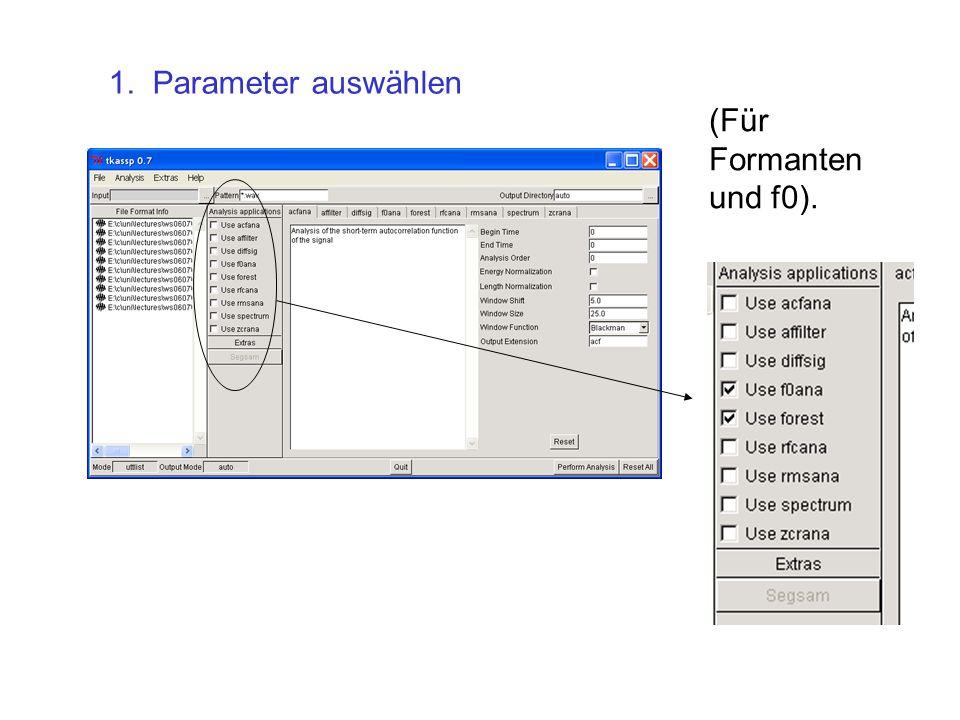 1. Parameter auswählen (Für Formanten und f0).