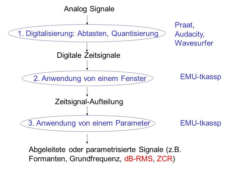 Analog Signale 1. Digitalisierung: Abtasten, Quantisierung Digitale Zeitsignale 2. Anwendung von einem Fenster Zeitsignal-Aufteilung 3. Anwendung von