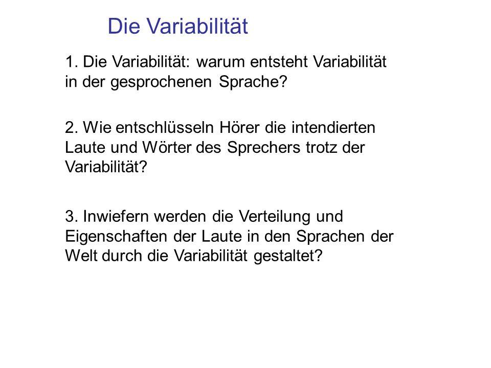 1. Die Variabilität: warum entsteht Variabilität in der gesprochenen Sprache? 2. Wie entschlüsseln Hörer die intendierten Laute und Wörter des Spreche