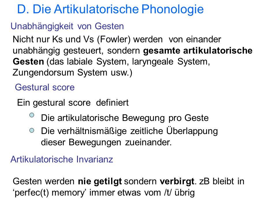 D. Die Artikulatorische Phonologie Nicht nur Ks und Vs (Fowler) werden von einander unabhängig gesteuert, sondern gesamte artikulatorische Gesten (das