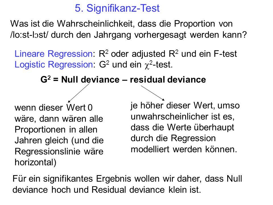 Lineare Regression: R 2 oder adjusted R 2 und ein F-test Logistic Regression: G 2 und ein 2 -test. G 2 = Null deviance – residual deviance Für ein sig