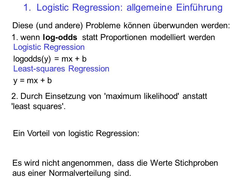 Diese (und andere) Probleme können überwunden werden: 1. wenn log-odds statt Proportionen modelliert werden 2. Durch Einsetzung von 'maximum likelihoo