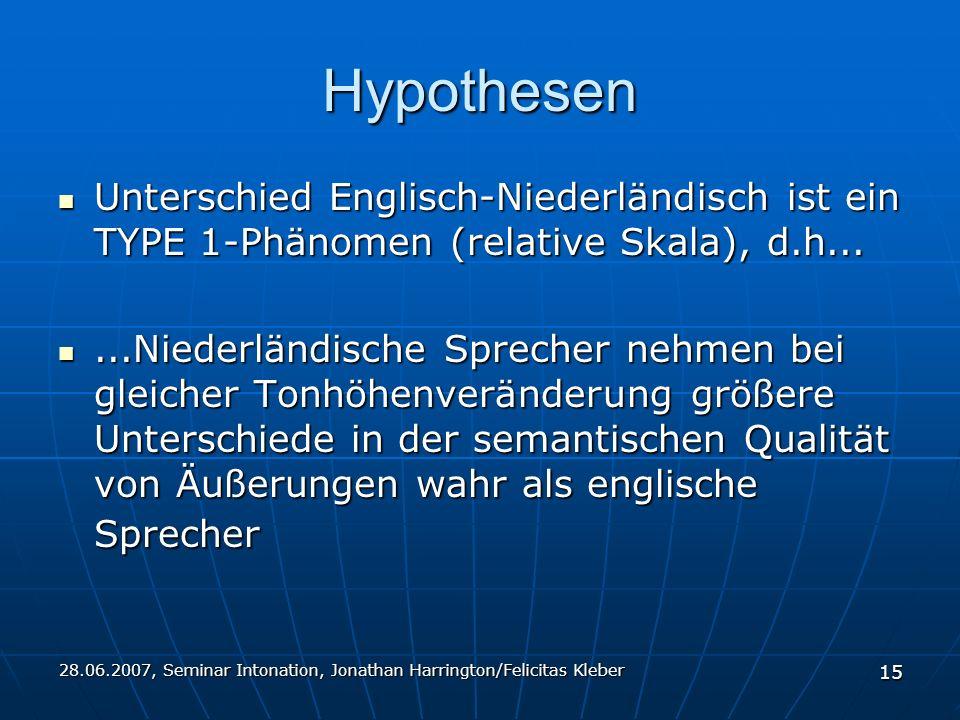 28.06.2007, Seminar Intonation, Jonathan Harrington/Felicitas Kleber 15 Hypothesen Unterschied Englisch-Niederländisch ist ein TYPE 1-Phänomen (relative Skala), d.h...