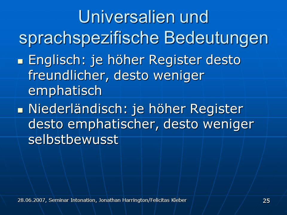 28.06.2007, Seminar Intonation, Jonathan Harrington/Felicitas Kleber 25 Universalien und sprachspezifische Bedeutungen Englisch: je höher Register desto freundlicher, desto weniger emphatisch Englisch: je höher Register desto freundlicher, desto weniger emphatisch Niederländisch: je höher Register desto emphatischer, desto weniger selbstbewusst Niederländisch: je höher Register desto emphatischer, desto weniger selbstbewusst