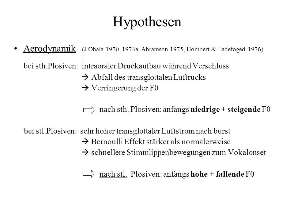 Hypothesen Aerodynamik (J.Ohala 1970, 1973a, Abramson 1975, Hombert & Ladefoged 1976) bei sth.Plosiven: intraoraler Druckaufbau während Verschluss Abf