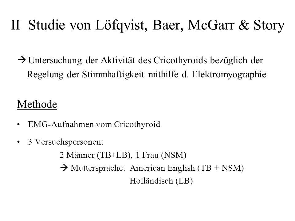 II Studie von Löfqvist, Baer, McGarr & Story Untersuchung der Aktivität des Cricothyroids bezüglich der Regelung der Stimmhaftigkeit mithilfe d. Elekt