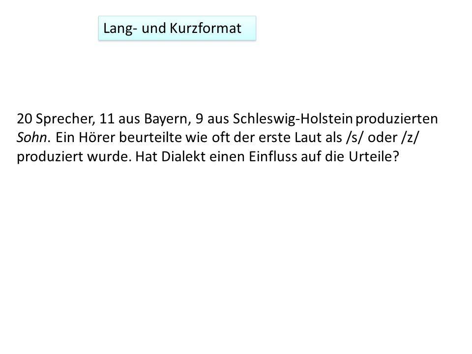 20 Sprecher, 11 aus Bayern, 9 aus Schleswig-Holstein produzierten Sohn. Ein Hörer beurteilte wie oft der erste Laut als /s/ oder /z/ produziert wurde.