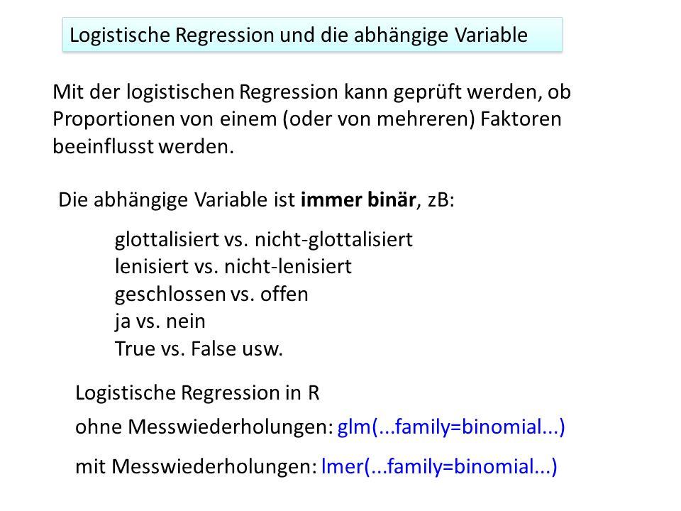 Mit der logistischen Regression kann geprüft werden, ob Proportionen von einem (oder von mehreren) Faktoren beeinflusst werden. Die abhängige Variable