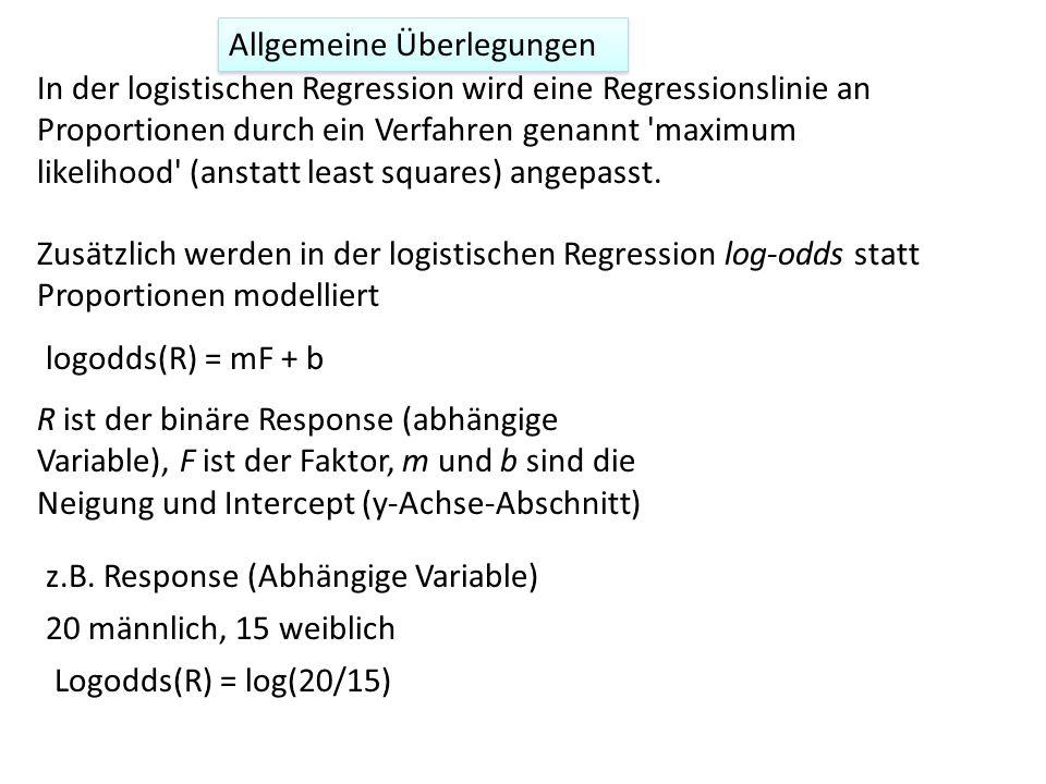 Zusätzlich werden in der logistischen Regression log-odds statt Proportionen modelliert Allgemeine Überlegungen 20 männlich, 15 weiblich Logodds(R) =