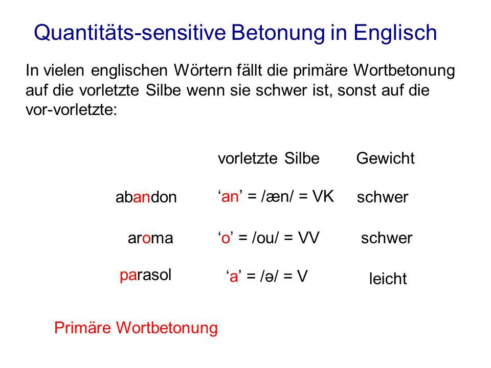 Quantitäts-sensitive Betonung in Englisch In vielen englischen Wörtern fällt die primäre Wortbetonung auf die vorletzte Silbe wenn sie schwer ist, son